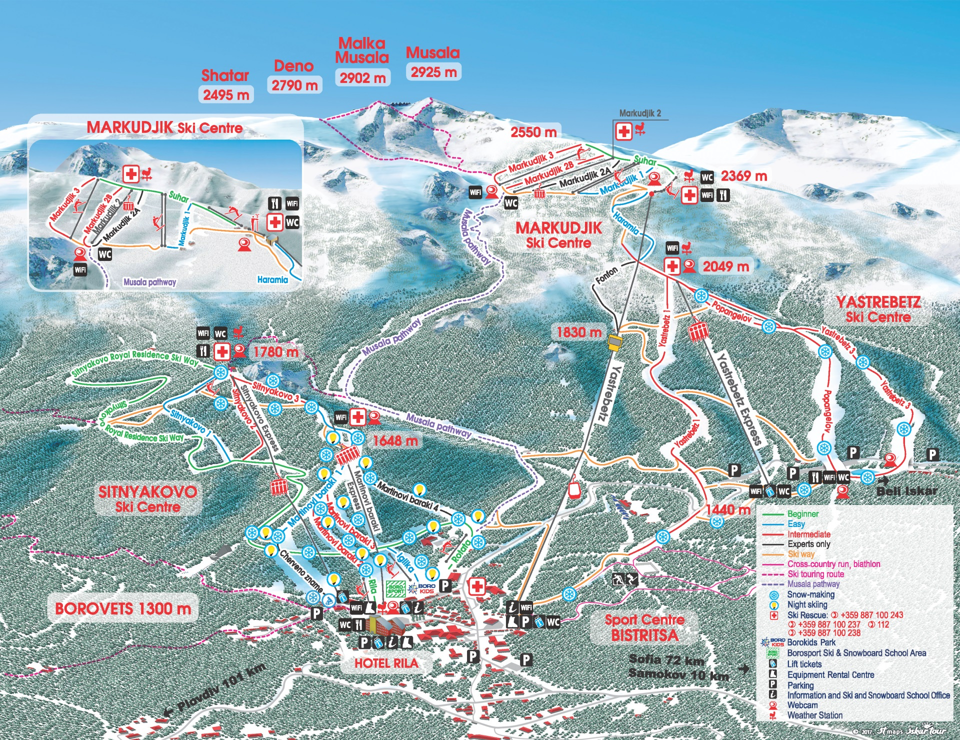 Ski map Borovets